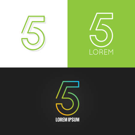 set design: Number five 5 logo design icon set background 10 eps