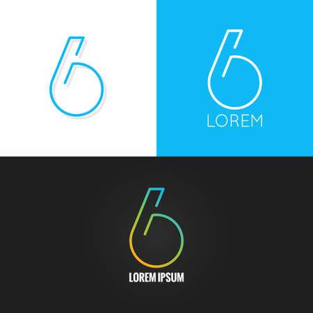 Number six 6  design icon set background 10 eps