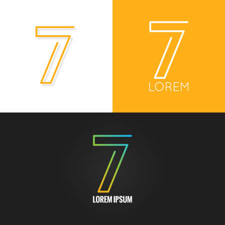 Number seven 7  design icon set background 10 eps