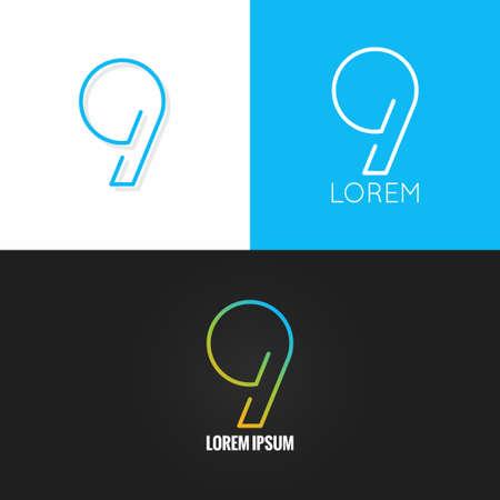 nombres: Num�ro neuf conception 9 icon set fond 10 eps