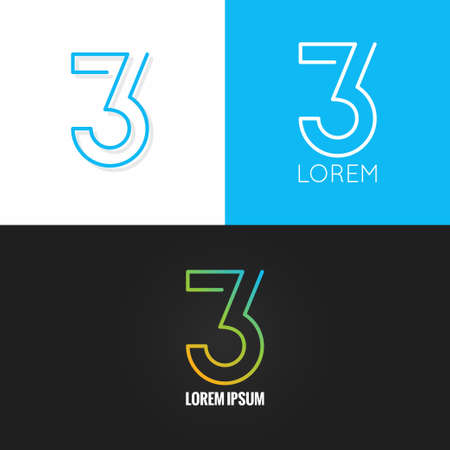 Number three 3  design icon set background 10 eps Çizim
