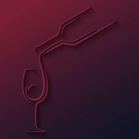copa de vino botella de papel cortado vector de fondo 10 EPS