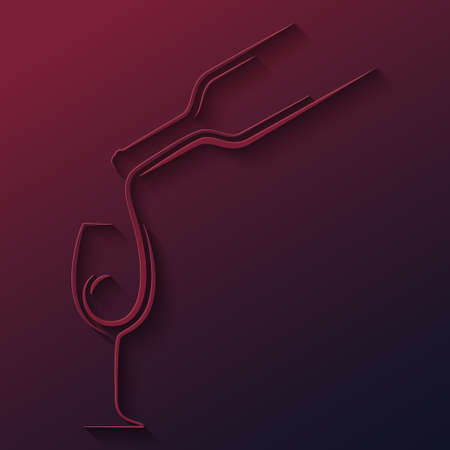 wine glass bottle paper cut vector background 10 eps