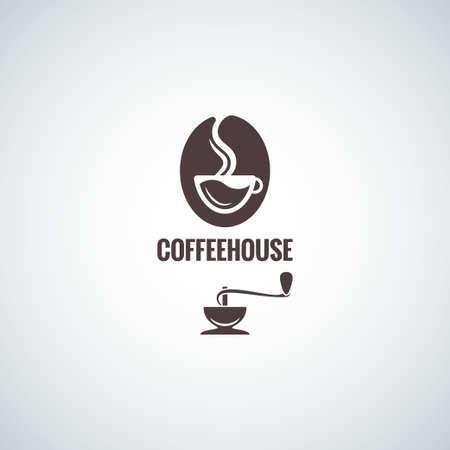 カップ デザイン背景を持つコーヒー豆  イラスト・ベクター素材