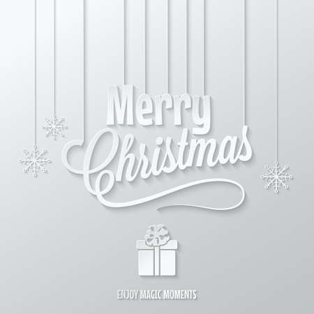 gift paper: merry christmas paper cut vector background 10 eps Illustration
