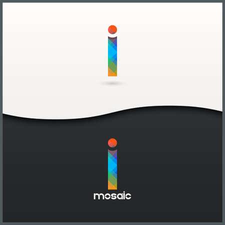 a i: letter I alphabet mosaic icon set background Illustration