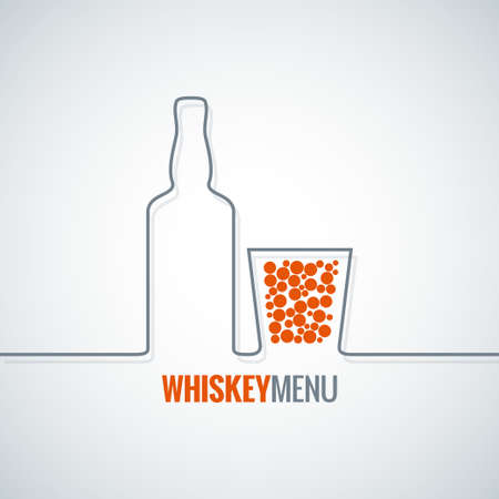 glass bottle: whiskey glass bottle line design