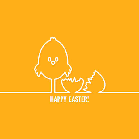 chick: easter abstract line vector background