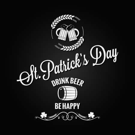 irish pub label design: Patrick day beer label design vector background