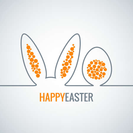 egg yolk: easter bunny with egg abstract vector background