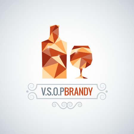 brandy: brandy glass poly design vector background