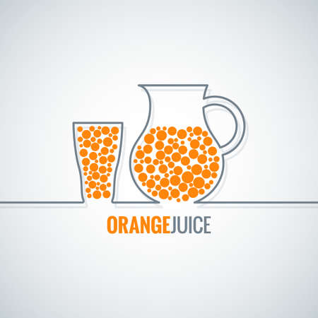 orange juice glass: orange juice glass bottle line vector background
