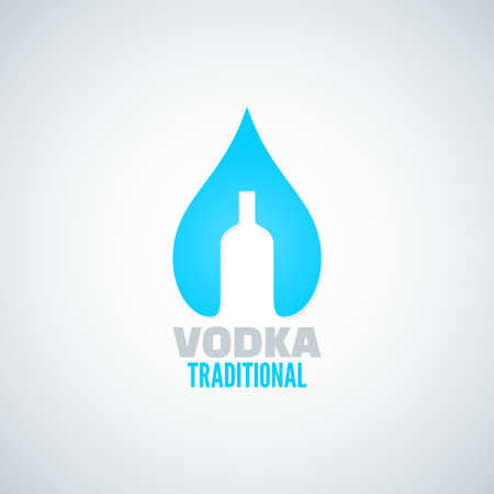 tonic: vodka bottle drop vector background Illustration