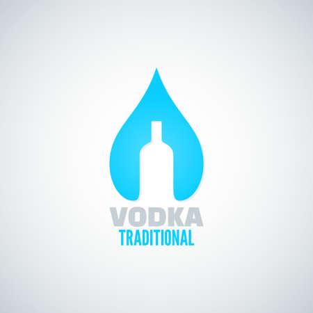 tonic: vodka bottle drop vector background Illustration