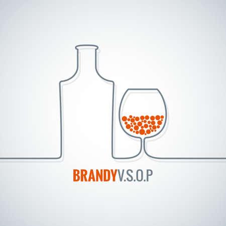 brandy: brandy glass bottle vector background Illustration