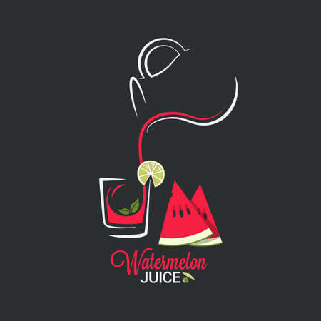 water jug: Watermelon juice. Glass and jug of summer smoothie