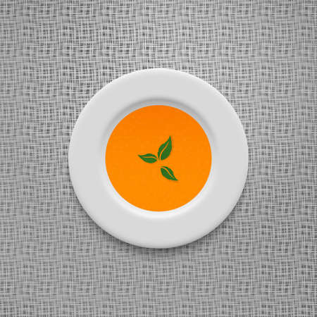 puree: Cream soup in a white plate. Pumpkin and carrot recipe. Vegetable puree on old linen texture design vector background.