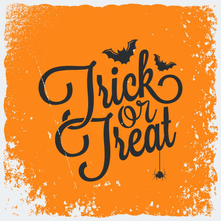 trick: Trick or treat Halloween vintage lettering