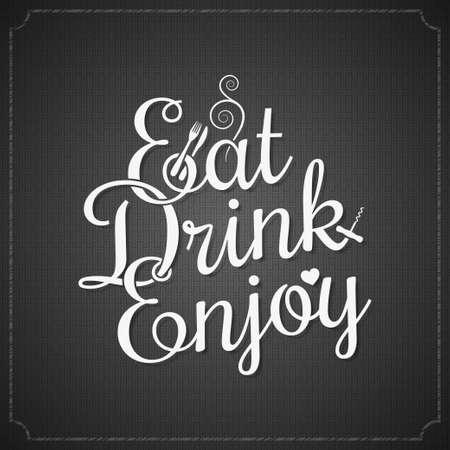 eten en drinken vintage krijt belettering