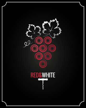 Wine grapes red and white on black background Illustration