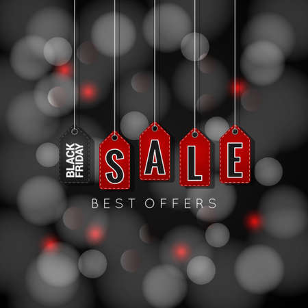 sale tags: Black Friday sale tags on abstract lights background