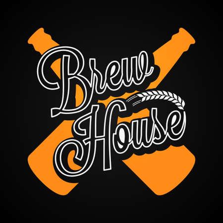 brew: Beer Bottles, Brew House Label Background.