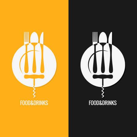 amarillo y negro: Comida y bebida . Placa Tenedor Cuchara Cuchillo Vectores