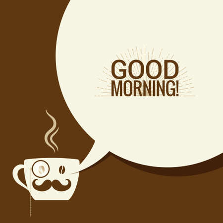 good break: Coffee Cup With Speech Bubble Says Good Morning