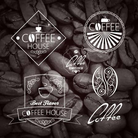 chocolate swirl: Coffee set Label. Vintage Background. Illustration