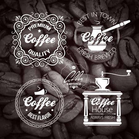 coffee grinder: Coffee set Label. Vintage Background. Illustration