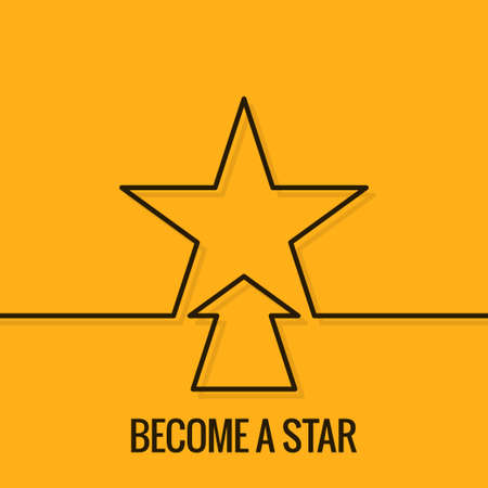 yellow star: Star Concept Line. Become A Star On Yellow Background.