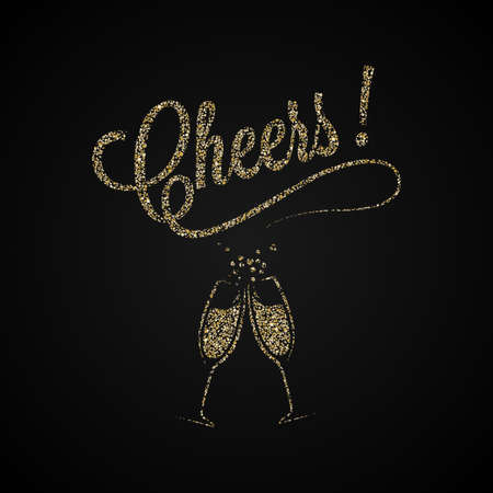 Cheers Vintage Lettering. Gold Champagne Background.