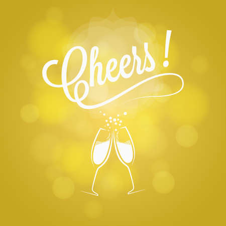 new year party: Cheers New Year Party Sign Champagne Design Background Illustration