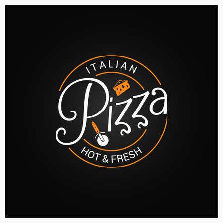 Pizza logo badge design background