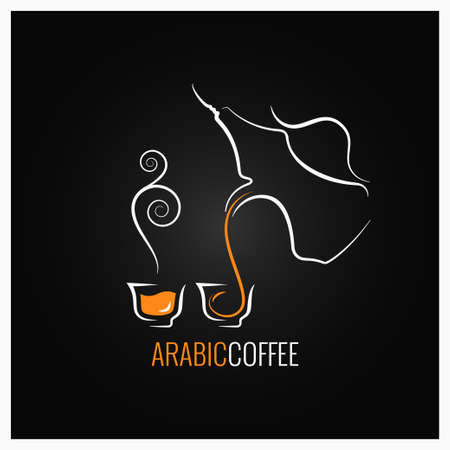 Arabic coffee logo design background.