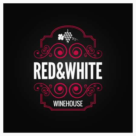 Wine red and white label design.