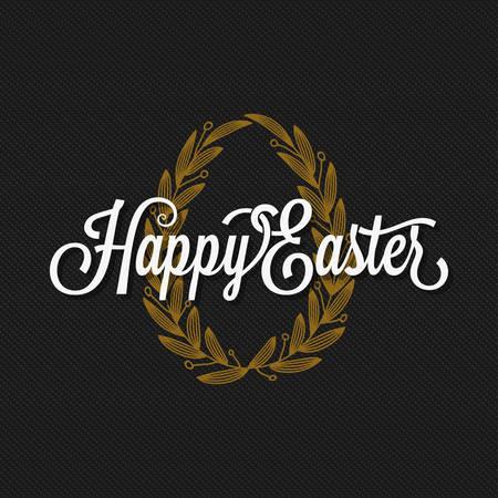 gold egg: Easter Vintage Lettering. Egg Background.