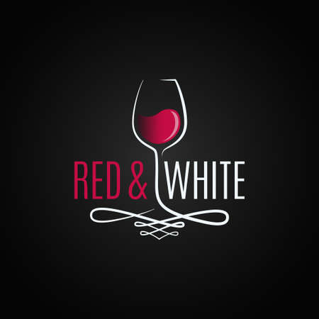 wine glass logo. Red and white wine vintage design background