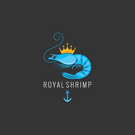 Shrimp logo on black background Vettoriali