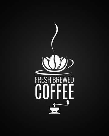 Coffee cup logo. Coffee beans with grinder on black background.