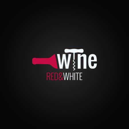 검은 배경에 와인 병 로고 10 eps