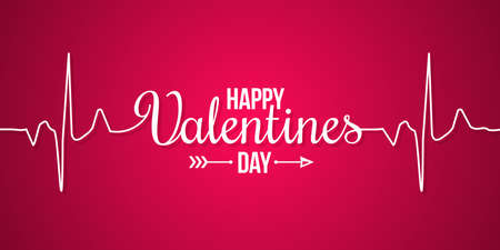 valentines day banner line concept on red background 10eps Illustration