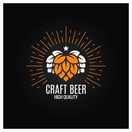 Beer hops logo on black background 8 eps