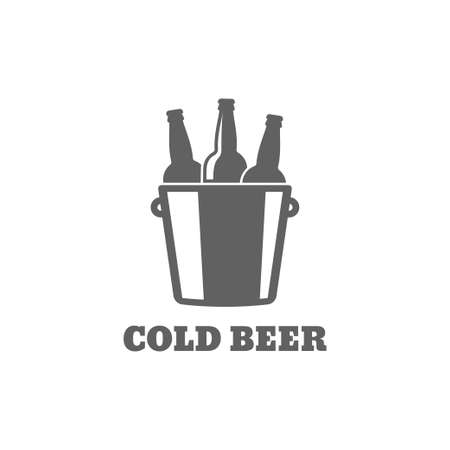 Beer bottle logo. Cold beer icon on white background