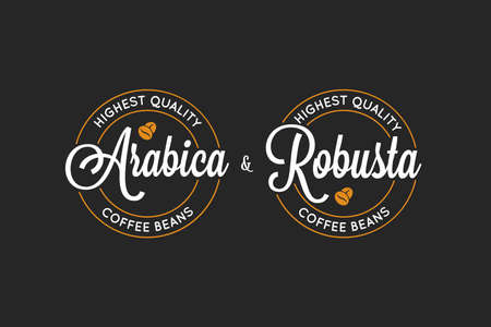 coffee Arabica and Robusta logo on black background 일러스트