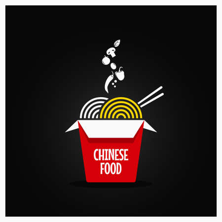 Chinese take out box. Takeaway restaurant food background