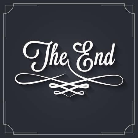 The end sign. Vintage movie ending frame on black background