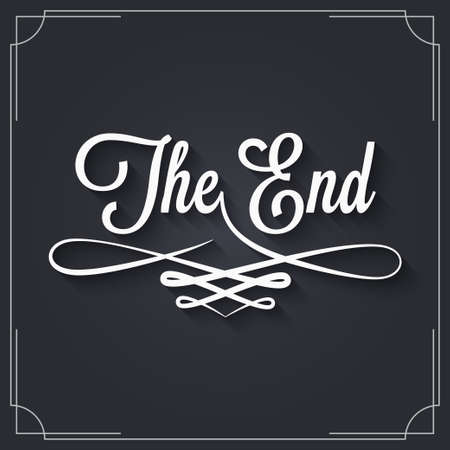 The end sign. Vintage movie ending frame on black background