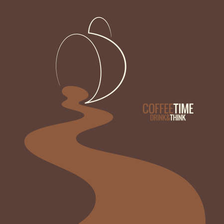 spilled coffee cup design background Ilustração