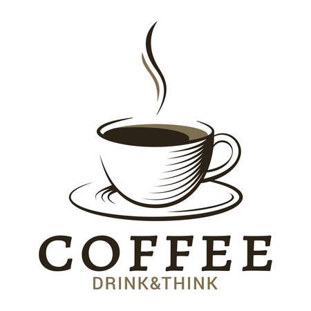 filiżanka kawy rocznika logo na białym tle Logo